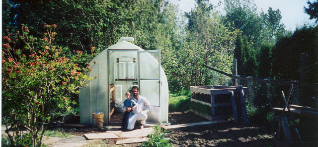 Family enjoying their solar gem greenhouse