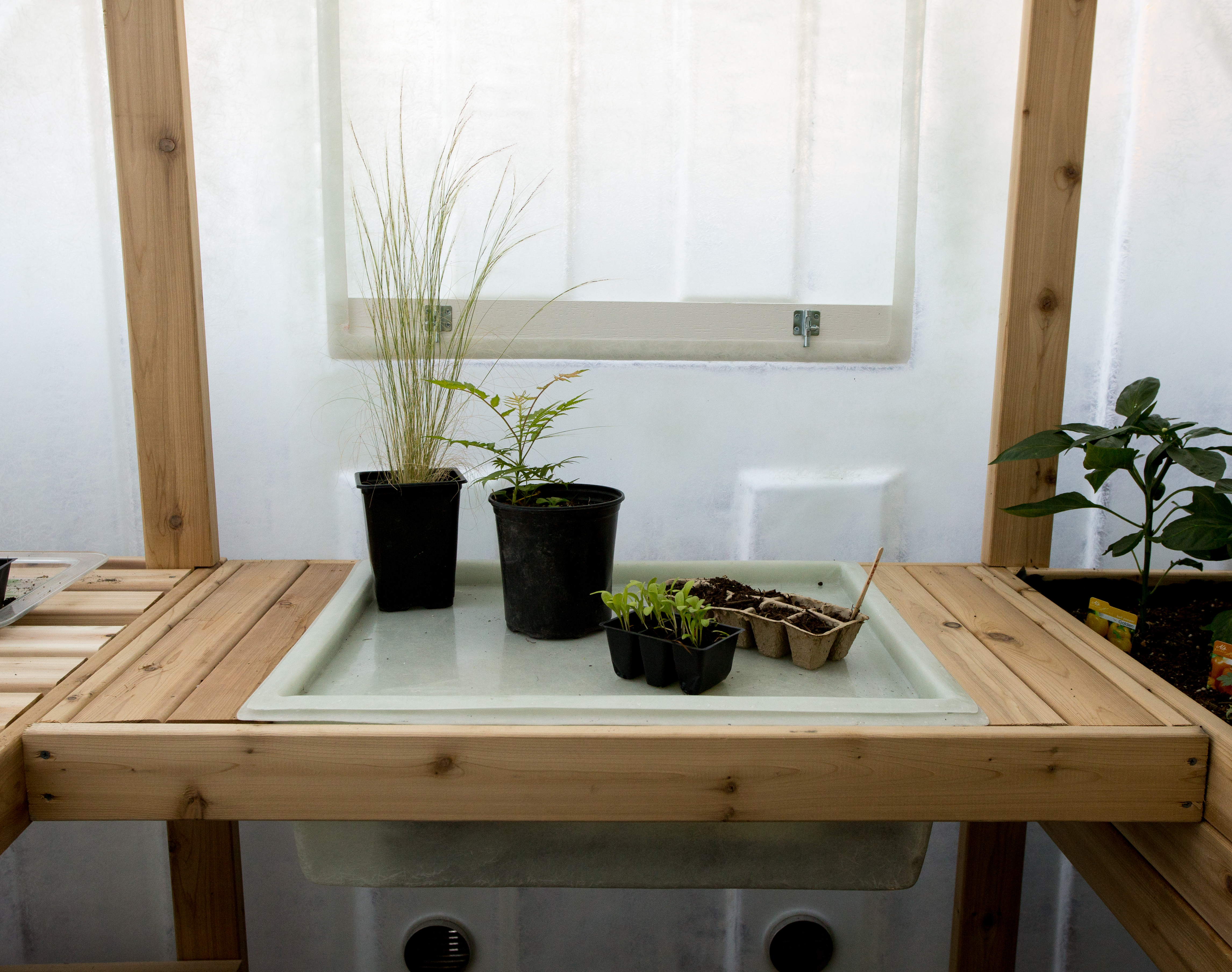 Under Window Shelf on raised bed aquaponics, raised bed plans, raised bed greenhouse growing, raised bed kits,
